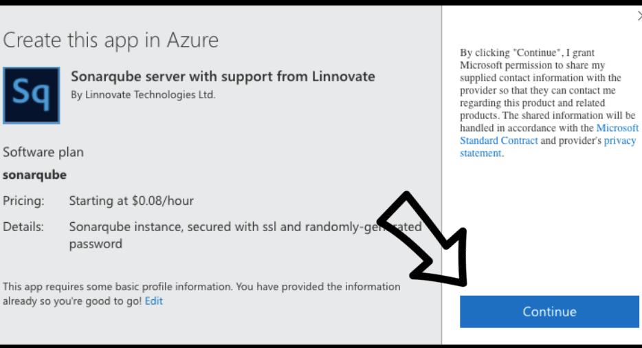 Continue button on Azure marketplace